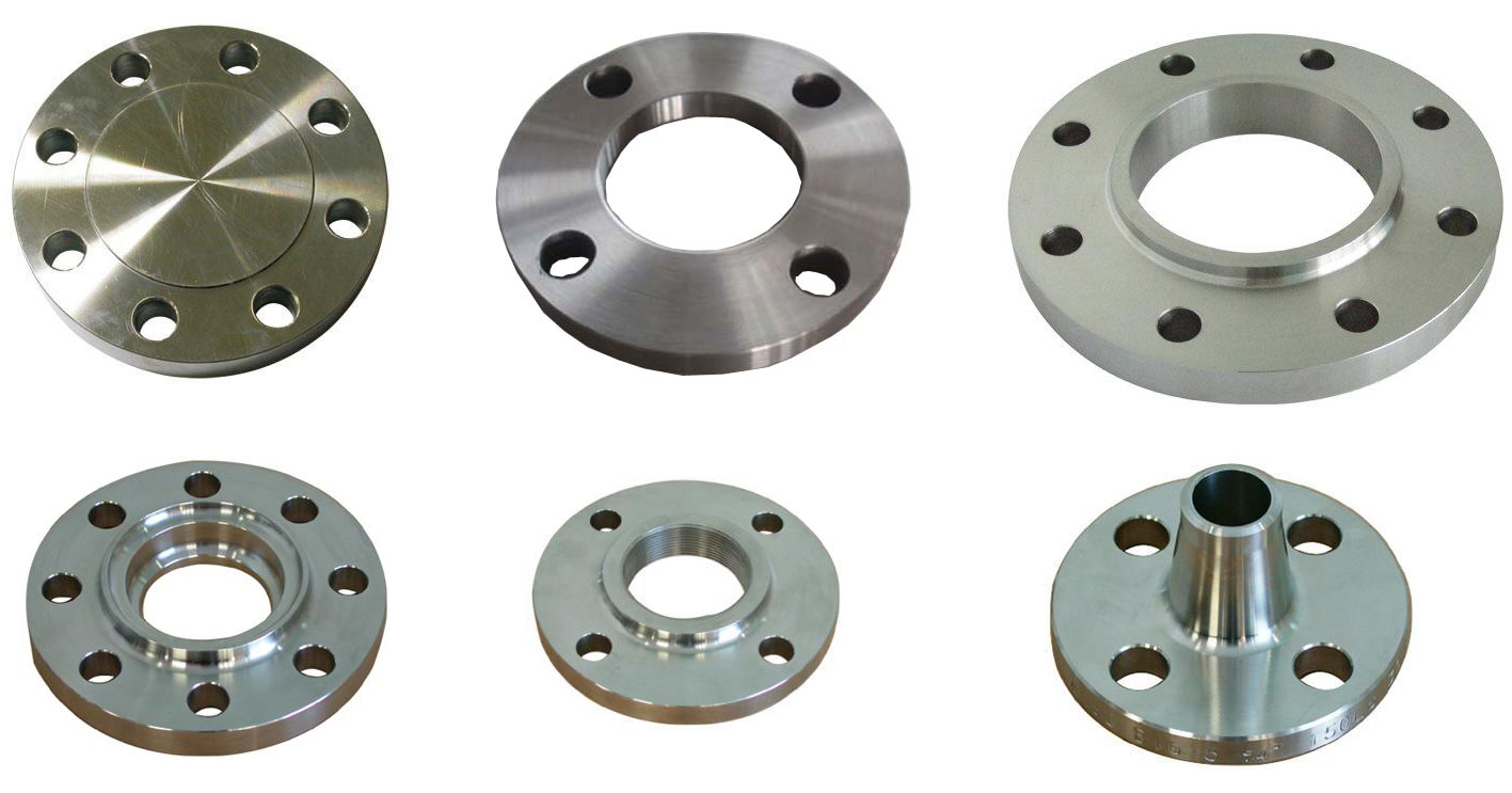 Weld neck flange, Slip on flange, Flat face flange, Blind flange, Threaded flange