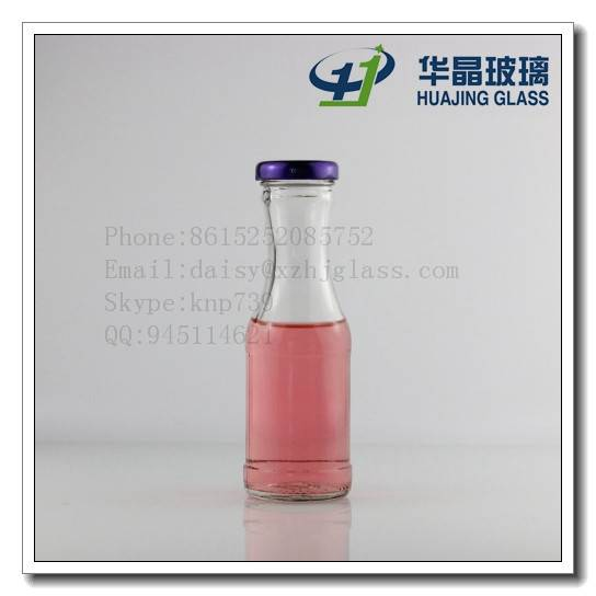 High quality 200ml 7oz round beverage glass bottle with lug metal lid for juice wholesale