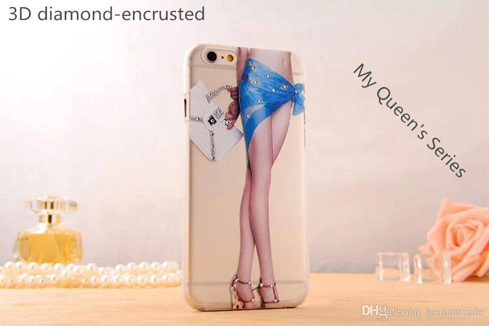 High Quality Luxury PC Cellphone Case for Iphone6 6plus 3D diamond-Encrusted Cellphone Case for Your