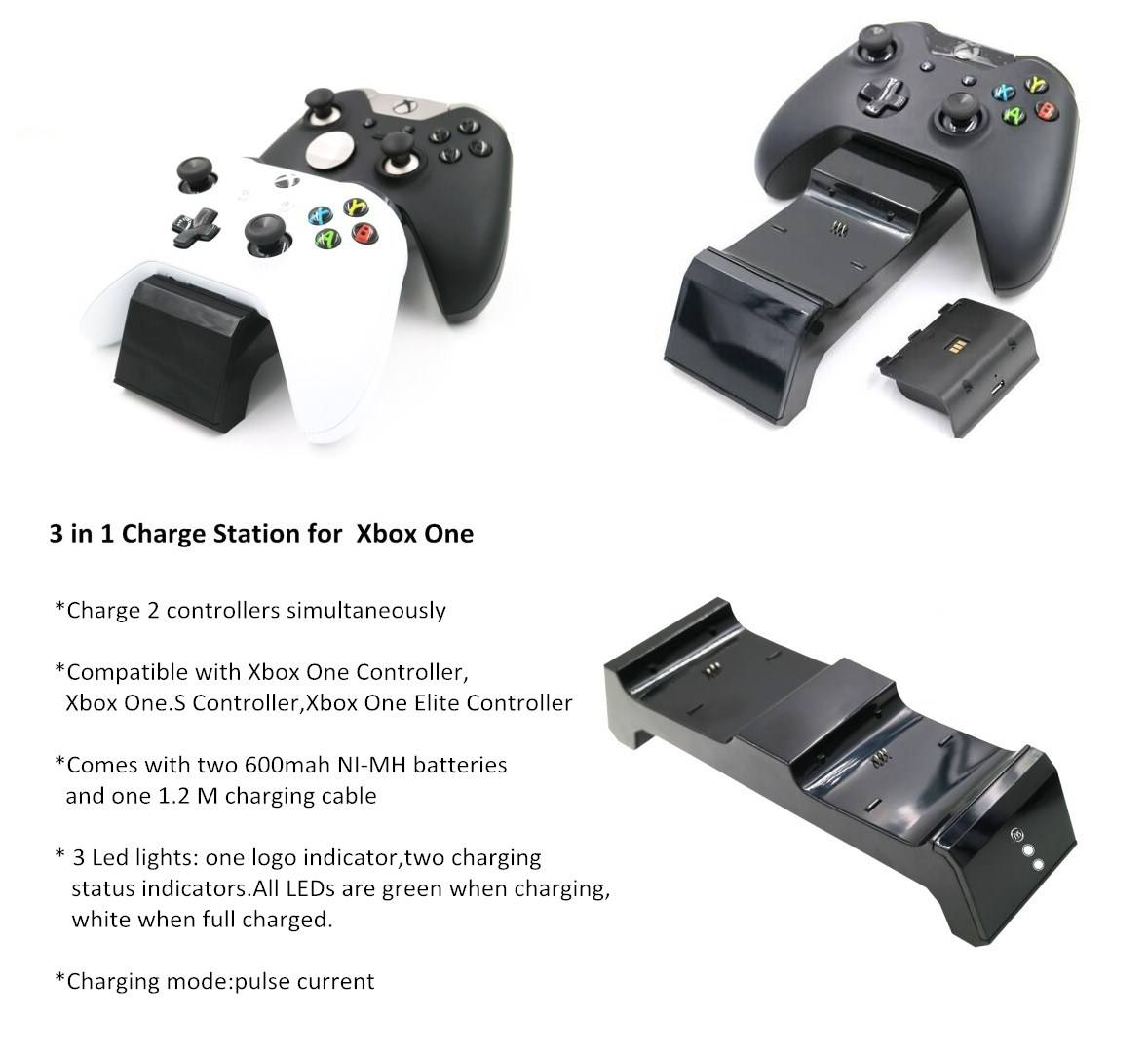 USB LED Dual Charging Dock Charger Station with 2 Rechargeable Batteries Fast Charging for XBOX ONE