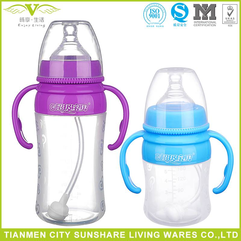 BPA Free Soft and Light Food Grade Liquid Silicone Baby Feeding Bottles with handle