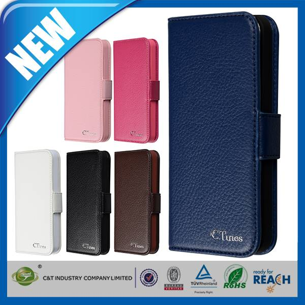 C&T Popular universal removable pure color leather cover for iphone 5