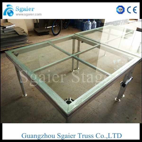 CE/TUV approved Mobile glass stage, aluminum portable stage for show , concert