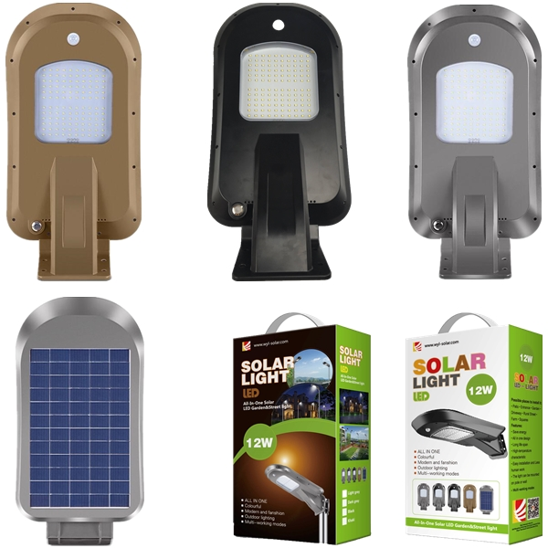 12W LED smart all-in-one PIR sensor solar garden light
