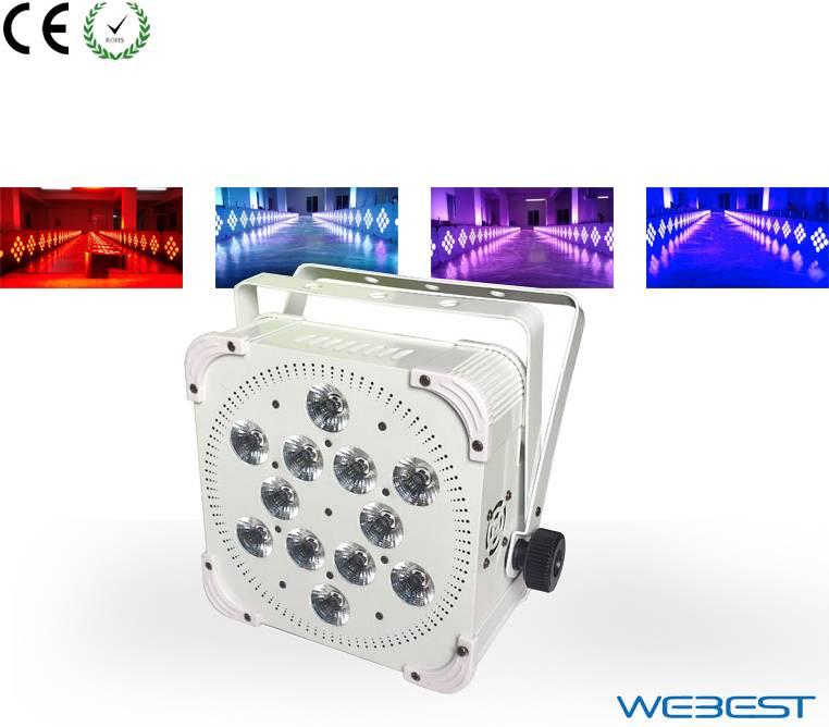 110w Wireless DMX 12 lens 4W RGBW 4in1 LED Flat Par