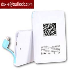 Credit card business 2500mah power bank with cable