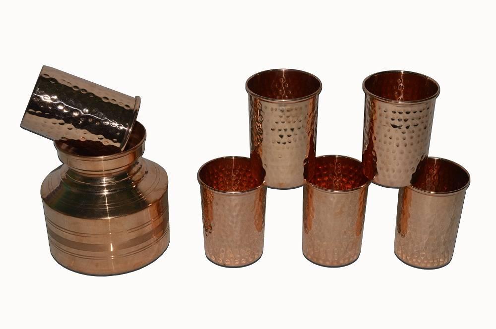 Raghav India 100% Genuine Copper Ancient Kalasi Tumbler with 6 Copper Hammered Designed Glasses Comb