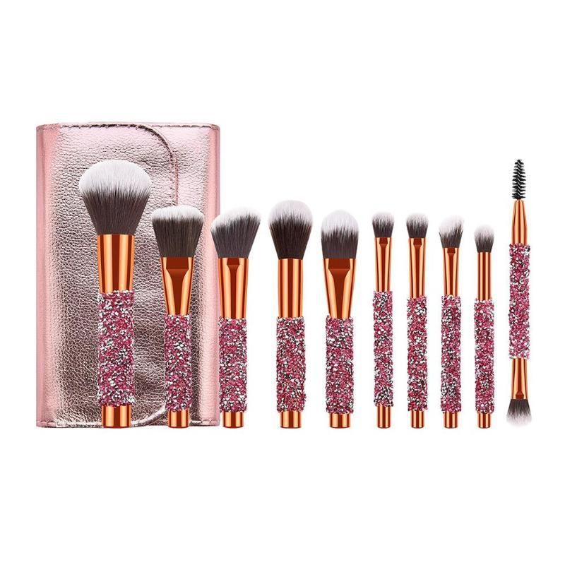 Professional Makeup Brushes 10PCS Diamonds Makeup Brush Set Kit with Cosmetic Private Label and OEM