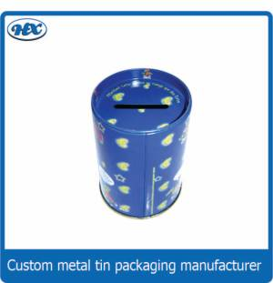 Blue tin coin bank with white round spot