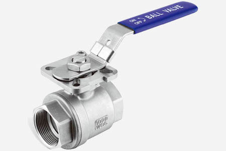 STAINLESS STEEL 2-PC BALL VALVE WITH MOUNTING PAD FULL BORE 1000 WOG JH203M