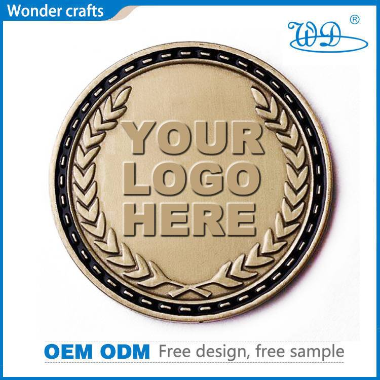 Custom logo promotion gifts die stamping aluminum alloy brass plating metal challenge coins