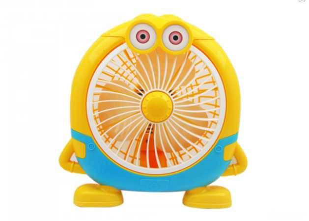 yellow color Minions 3 blade table plastic mini table fan