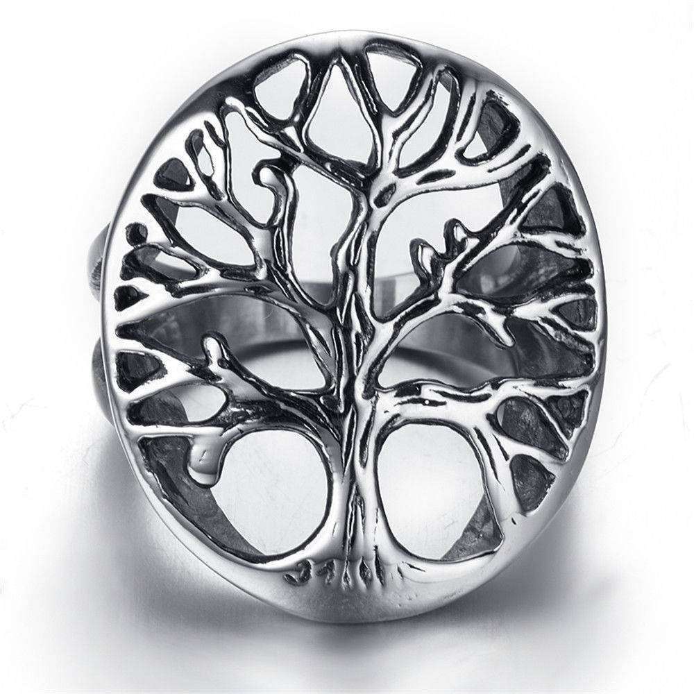 New Size 5-15 Mens Ladies, Unisex, Stainless Steel Ring, Biker, Silver, Hollow, Tree