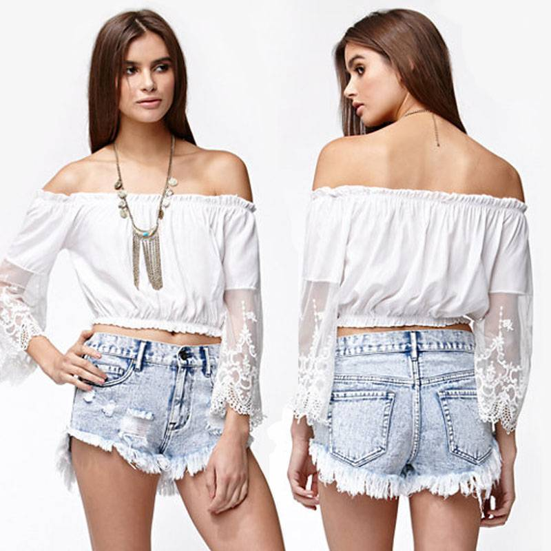 Sexy ladies off shoulder tube tops for women
