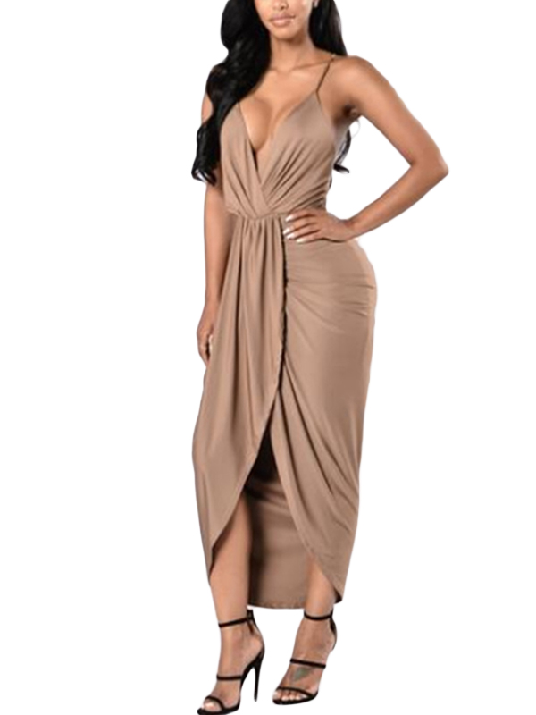 Fashion Women Sexy Summer Solid Spaghetti Strap Deep V-Neck Sleeveless Mid-Calf Dress WT73023