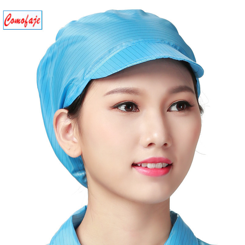 High quality Stripe Polyester ESD Caps Antistatic cleanroom caps