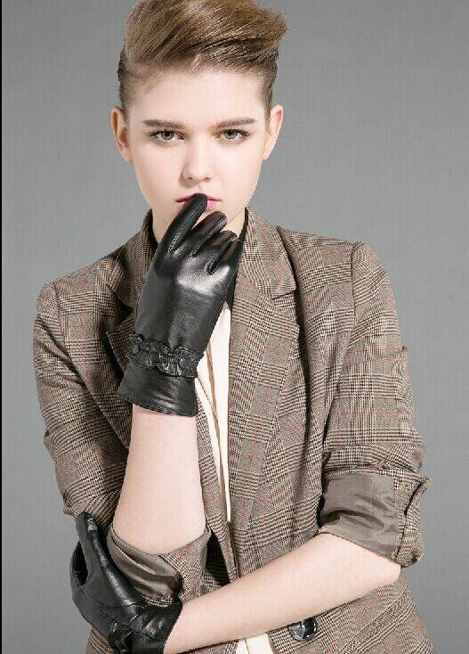 sheep skin leather gloves for woman