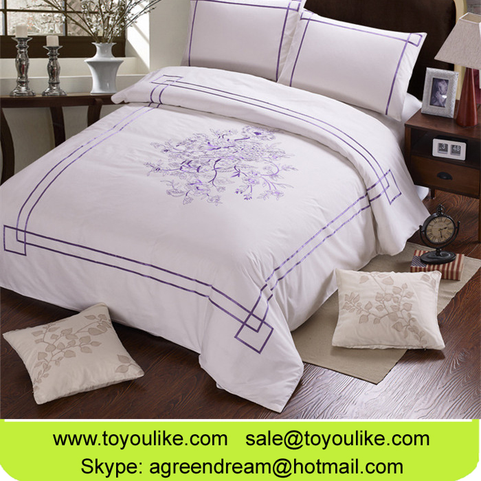 High End Cotton Purple Floral Embroidery Duvet Cover Bed Sheet Pillowcases Bed Linens Home Textile