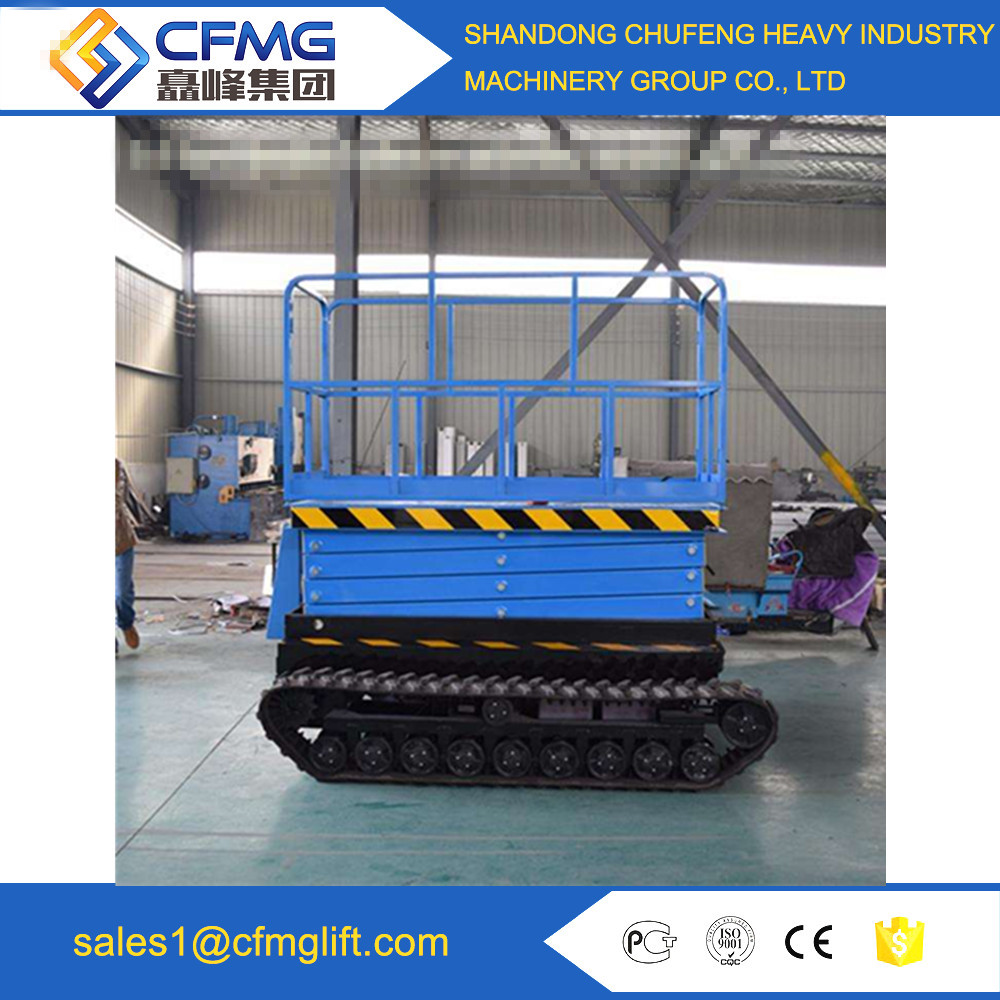 10m Movable scissor hydraulic with crawler elevated lift platforms with CE