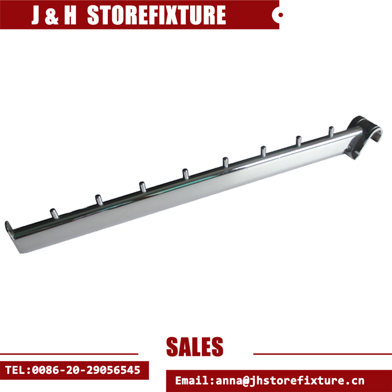 Bright chrome clothes hook sloping haning arm for back-bar