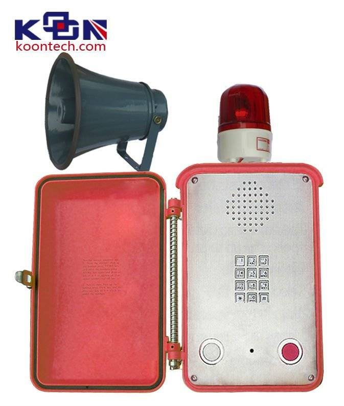 Hand free waterproof telephone with louderspealer and beacon