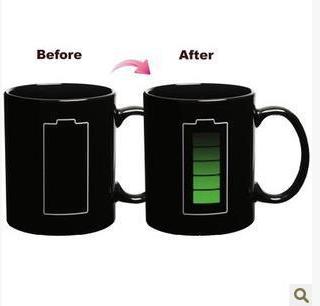 Heat-Sensitive Mug, Color Changing Mug ,Ceramic Mug Black Matt Cup, Print Image By Mug Press OEM