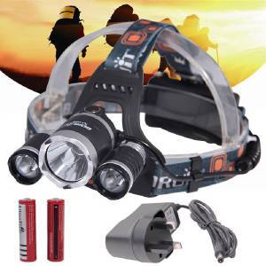 BORUIT Patent RJ-3000 3 x Cree XM-L T6 4-Mode 5000 Lumens LED Headlamp