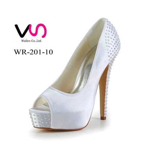 Rhinestones 5 inch high heel dyeable satin bridal shoes made in China