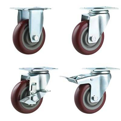 3 4 5 Inch Medium Duty Double Ball Bearing Dark Red PU Caster Wheel Zinc Plated for Carts Racks Doll
