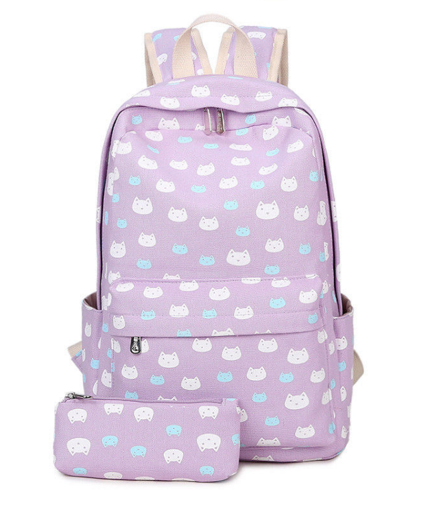 Cute Cat School Backpack For Girls School Bag Bookbags With Pencil Case