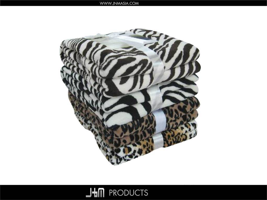 100% Polyester Fleece Printed Coral Blanket with Zebra