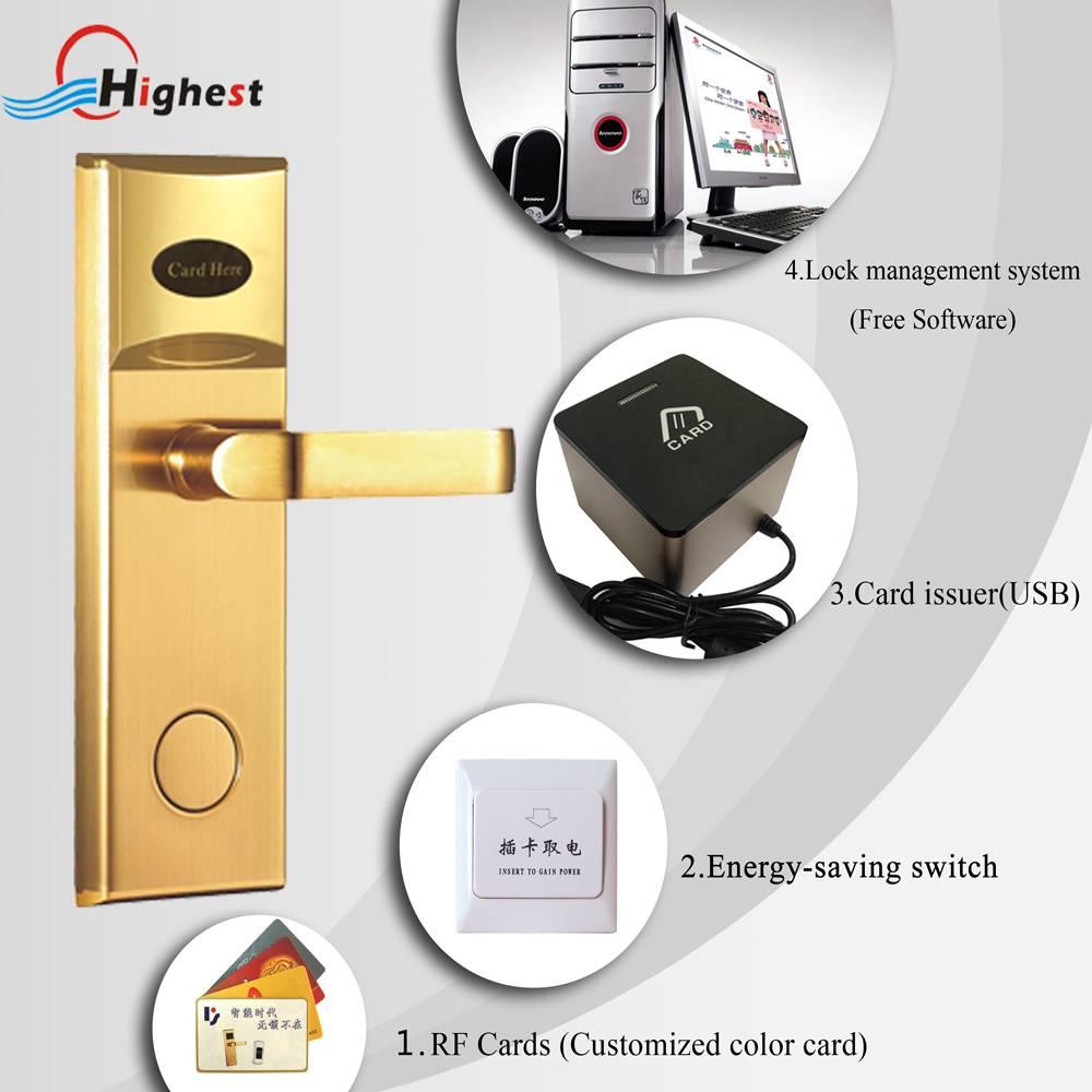 Golden security electronic smart hotel rfid card hotel door locks