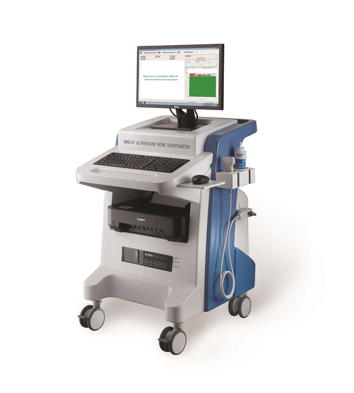 trolley ultrasound bone densitometer in ultrasound scanner for radius and tibia