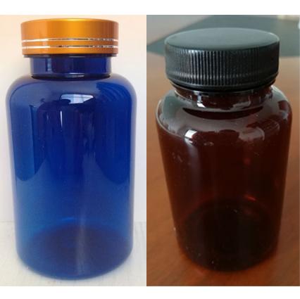 pet medicine amber bottle and blue pill plastic bottle for capsule