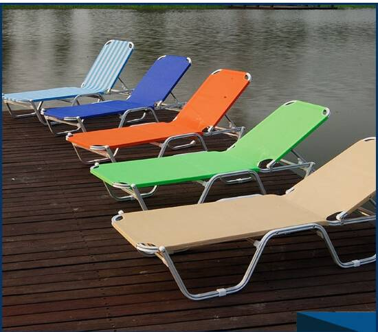 High-end outdoor folding beach bed aluminum leisure  sun bedCY - 0195