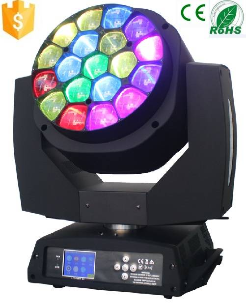 Professional Stage lighting 19*15w rgbw hawkeye led moving head with zoom for dj disco any event
