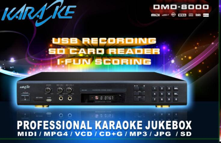 New functions Multi-Format Karaoke DVD Mp4 Divx Player with Inbuilt Recorder+ USB + Wired Digit Micr