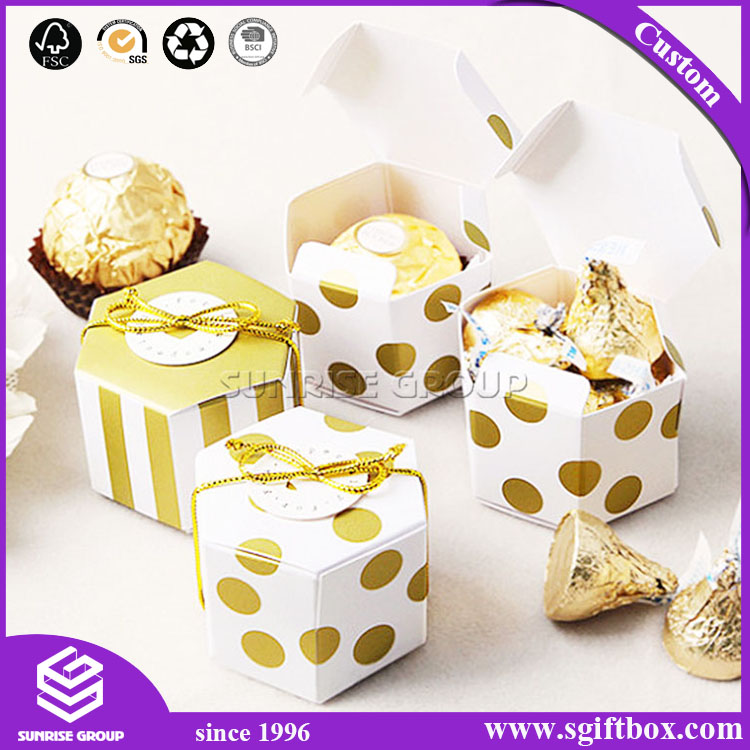 Custom Printing Spot Pattern Gift Hexagon Paper Packaging Box Luxury Wholesale
