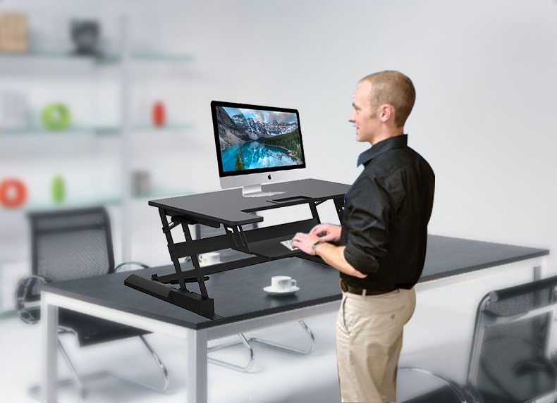 LD02 Gas lifting height adjustable sit stand desk