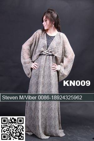 Latest Leopard Chiffon Beading Cheap Long Sleeves Dubai Kaftan