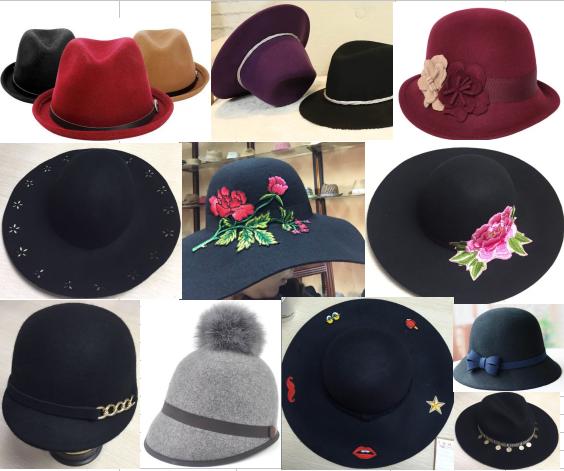 100% Wool Woven Fashion Lady Felt Hat Cowboy Fedora Floppy Bowler Hat Caps