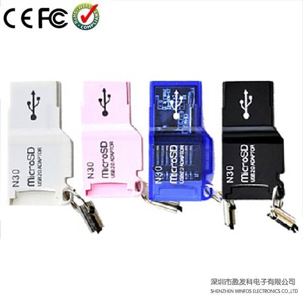 Winfos, OEM Vienna TF/Micro SD Card Reader, Design in Exquisite Size, Lanyard, Slim, Supports Plug-a