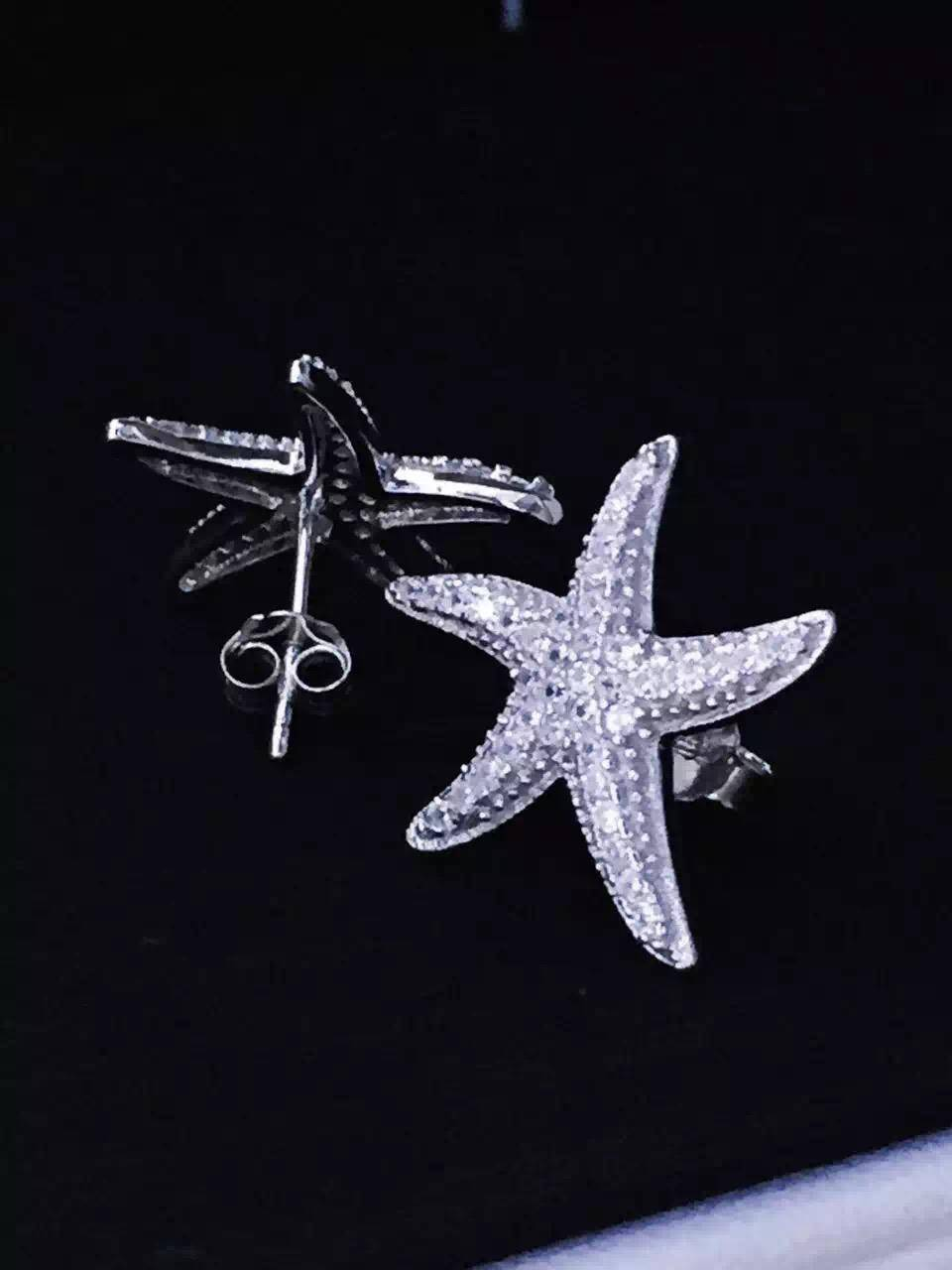 NEFFLY New Design 925 Sterling silver APMS Starfish stud earrings Fashion lady Jewelry beautiful wed