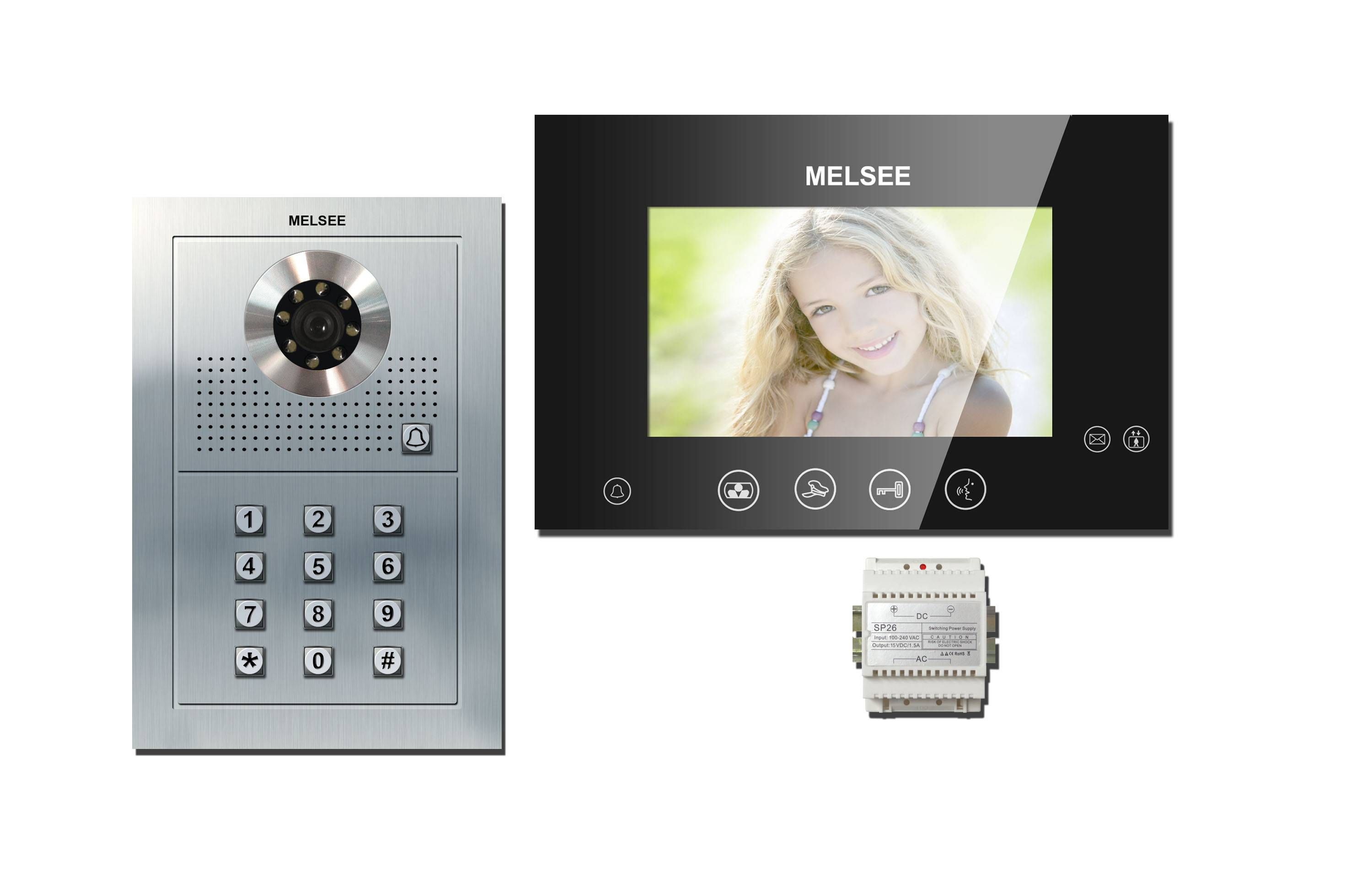 """7"""" color video doorphones with sensitive touch screen with 2 mechanical buttons"""