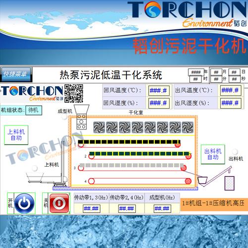 TORCHON brand Heat pump low temperature belt type sludge dryer sewage wastewater treatment sludge