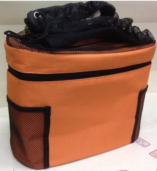 Customized 600D polyester with mesh bag insulated cooler bag manufacture