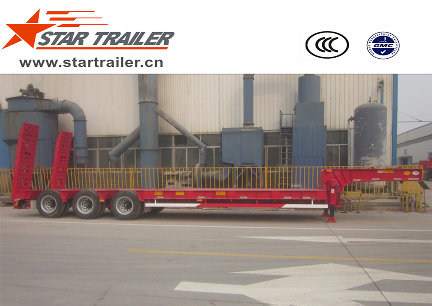 3 Axles Low Bed Semi-trailer(tire exposed)