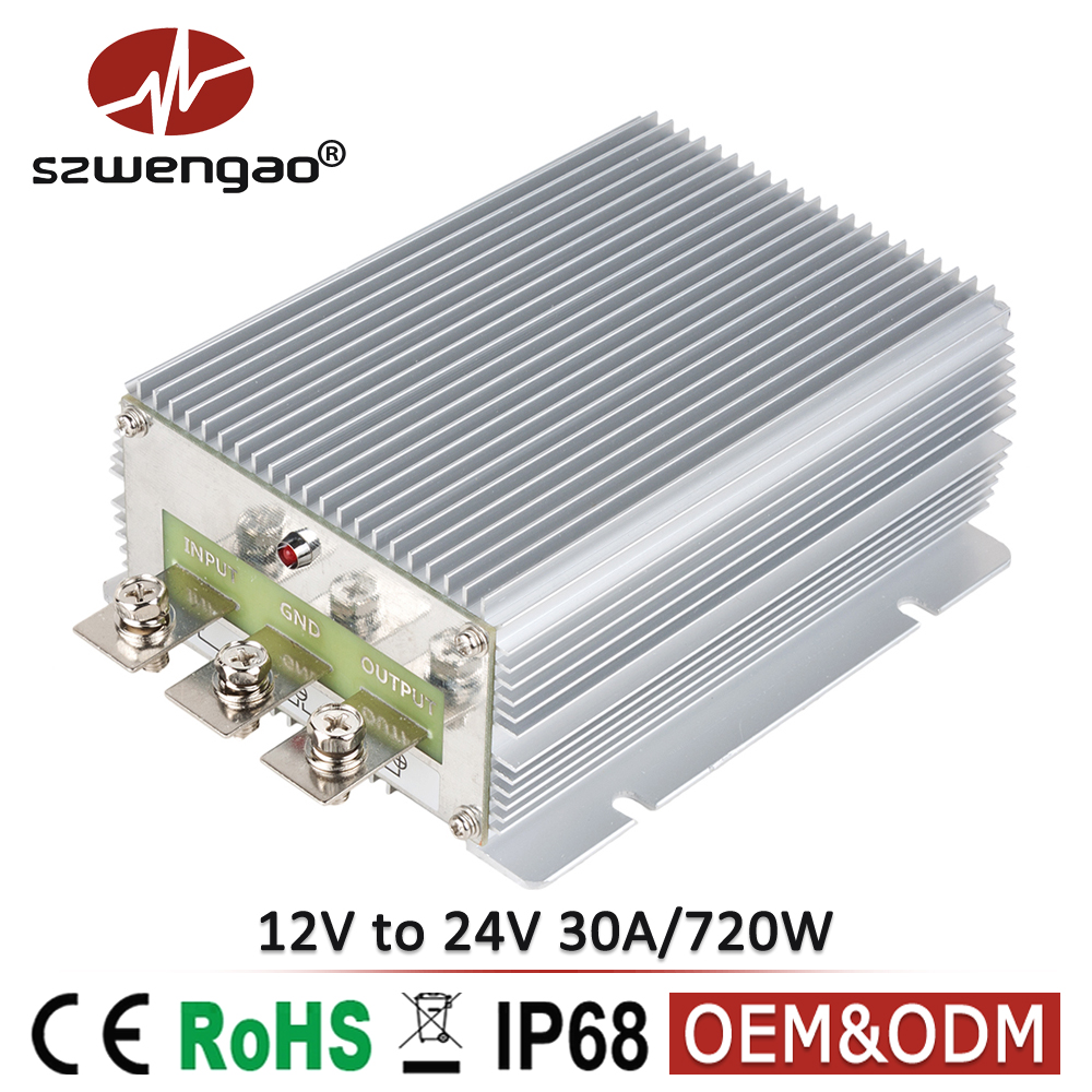 No-isolated Waterproof DC Boost Module Converter 12V to 24V DC-DC Converter 30A 720W Step Up Power C