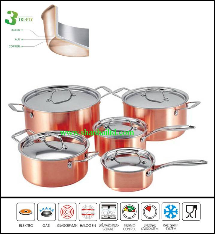 3 Ply german stainless steel kitchenware,kitchen ware of foshan