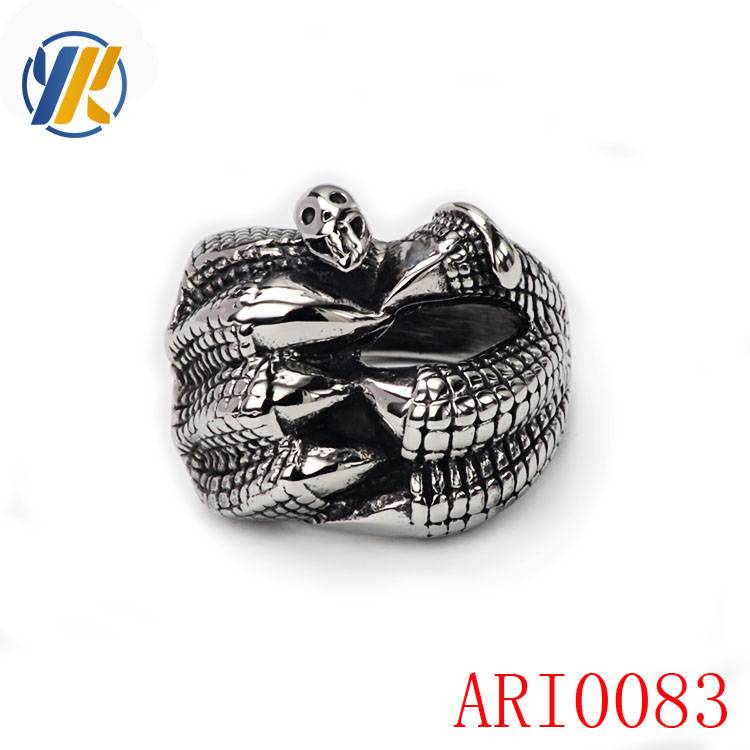 316L Stainless Steel Silver Men's Skull Harley Biker Jewelry Ring